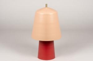 tafellamp 73810 design modern retro eigentijds klassiek metaal roze rood messing rond