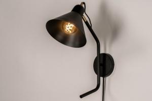 wandlamp 73811 modern retro eigentijds klassiek metaal zwart mat messing rond