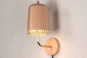 wandlamp 73812 modern retro eigentijds klassiek voor kinderen messing geschuurd metaal roze messing rond
