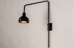 Wandleuchte 73814 Industrielook laendlich rustikal modern Metall schwarz matt rund