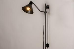 Aplique de pared 73815 Aspecto industrial Rural rustico Moderno Metal Negro Mate Redonda Oblongo