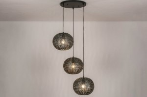 suspension 73825 look industriel rural rustique moderne acier noir bronze brun rouille anthracite rond
