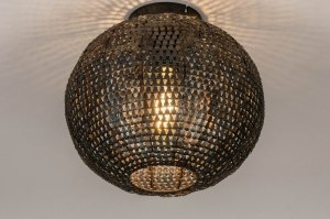 plafondlamp 73826 industrie look landelijk rustiek modern stoer raw metaal zwart roest bruin brons bruin rond
