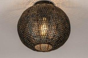 plafonnier 73826 look industriel rural rustique moderne lampes costauds acier noir rouille brun bronze brun rond