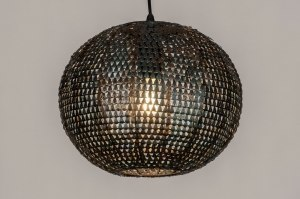 hanglamp 73827 industrie look landelijk rustiek modern metaal zwart roest bruin brons bruin rond