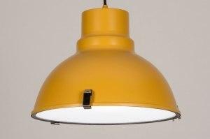 hanglamp 73829 industrie look landelijk rustiek modern voor kinderen metaal geel rond