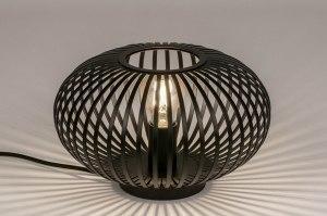 tafellamp 73836 industrie look landelijk rustiek modern retro metaal zwart mat rond