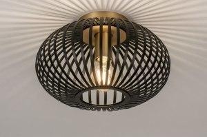 plafondlamp 73839 modern retro metaal zwart mat messing rond