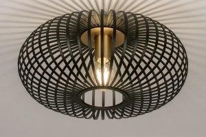 plafondlamp 73840 modern retro metaal zwart mat messing rond