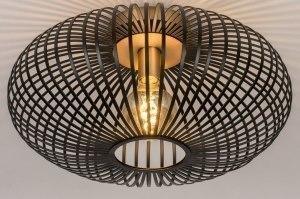 plafondlamp 73841 industrie look landelijk rustiek modern retro metaal zwart mat messing rond