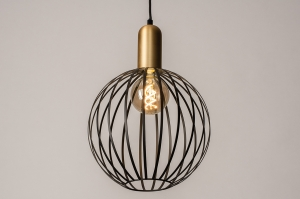 hanglamp 73842 modern eigentijds klassiek art deco metaal zwart mat goud messing rond