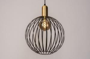 hanglamp 73843 modern eigentijds klassiek art deco metaal zwart mat goud messing rond