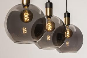 hanglamp 73847 modern eigentijds klassiek art deco glas metaal zwart mat grijs messing rond langwerpig