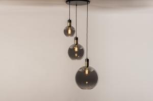 hanglamp 73848 modern eigentijds klassiek art deco glas messing geschuurd metaal zwart mat grijs rond