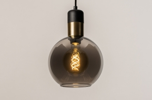 hanglamp 73849 modern retro glas zwart mat grijs messing rond