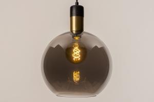 hanglamp 73850 modern retro glas zwart mat grijs messing rond