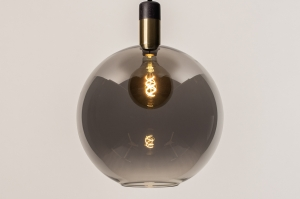 hanglamp 73851 modern retro glas zwart mat grijs messing rond
