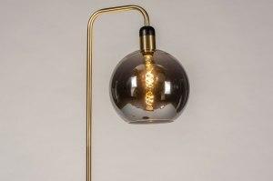 vloerlamp 73852 modern retro eigentijds klassiek art deco glas messing geschuurd grijs messing rond