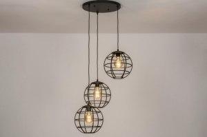 hanglamp 73855 industrie look landelijk rustiek modern metaal zwart mat rond