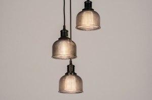 suspension 73856 look industriel moderne retro classique contemporain verre acier noir mat gris rond