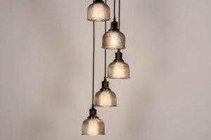 hanglamp 73857 modern retro eigentijds klassiek art deco glas metaal zwart mat grijs rond