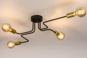 plafondlamp 73862 industrie look modern retro eigentijds klassiek art deco metaal zwart mat goud messing rond langwerpig