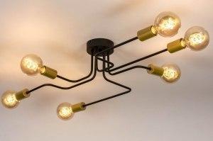 plafondlamp 73863 industrie look modern retro eigentijds klassiek art deco metaal zwart mat goud messing rond langwerpig