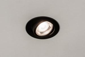 inbouwspot 73871 modern aluminium metaal zwart mat rond