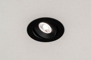 inbouwspot 73877 industrie look design landelijk rustiek modern aluminium kunststof zwart mat rond