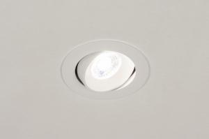 inbouwspot 73878 design landelijk rustiek modern aluminium kunststof wit mat rond