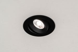 inbouwspot 73879 industrie look design landelijk rustiek modern aluminium kunststof zwart mat rond