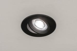 inbouwspot 73883 industrie look modern aluminium kunststof polycarbonaat slagvast zwart mat rond
