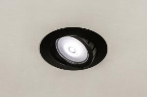 inbouwspot 73895 design modern aluminium metaal zwart mat rond