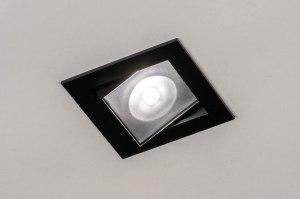 inbouwspot 73896 design modern aluminium metaal zwart mat vierkant