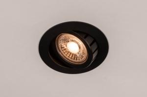 inbouwspot 73898 design modern aluminium metaal zwart mat rond