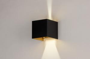 wandlamp 73908 modern aluminium metaal zwart mat goud vierkant