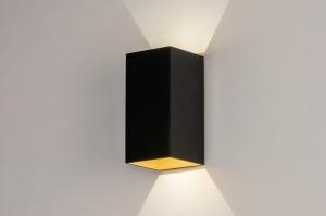 wandlamp 73909 design modern aluminium metaal zwart mat goud rechthoekig