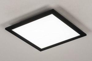 plafondlamp 73910 modern aluminium kunststof zwart mat vierkant