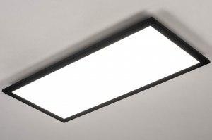 plafondlamp 73912 design modern aluminium kunststof zwart mat wit rechthoekig