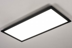 Lampara de techo 73912 Diseno Moderno Aluminio Material. sintetico. Negro Mate Blanco Rectangular