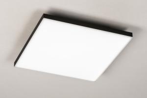 plafondlamp 73915 design modern zwart mat wit mat vierkant
