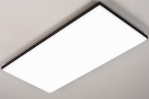 plafondlamp 73916 design modern zwart mat wit mat langwerpig
