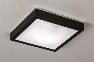 plafondlamp 73918 modern aluminium kunststof zwart mat wit vierkant