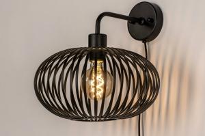 wandlamp 73922 landelijk rustiek modern retro metaal zwart mat rond
