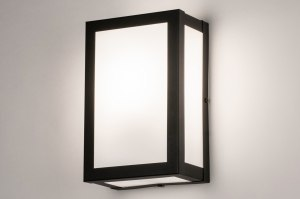 Aussenleuchte 73923 Industrielook laendlich rustikal modern Glas mit Opalglas Edelstahl Metall schwarz matt weiss rechteckig