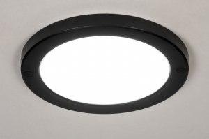 plafondlamp 73935 modern kunststof zwart mat wit rond