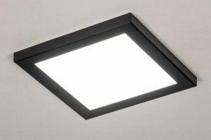 plafondlamp 73936 modern kunststof zwart mat wit vierkant