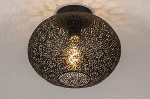 plafondlamp 73942 modern eigentijds klassiek metaal zwart mat rond