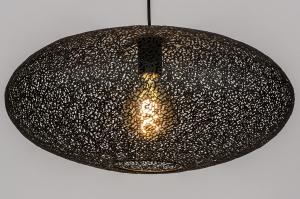 hanglamp 73944 modern eigentijds klassiek metaal zwart mat rond