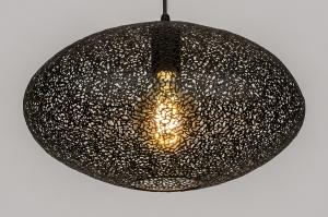 hanglamp 73945 modern metaal zwart mat rond